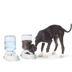 AmazonBasics Gravity Pet Feeder and Waterer Bundle, Large