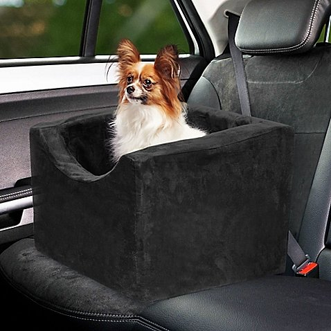 Precious Tails EDMW16BCBLK Pet Car Booster Seat High Density Foam with Safety Strap and Zipper Removable Cover, Black