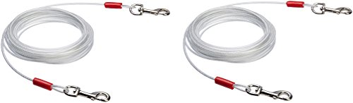 AmazonBasics Tie-Out Cable for Dogs up to 90lbs, 25 Feet, Set of 2