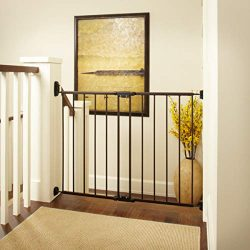"""Easy Swing & Lock Gate"" by North States: Ideal for standard or wider stairways, swings to self-lock. Hardware mount. Fits openings 28.68″ to 47.85″ wide (31″ tall, Bronze)"