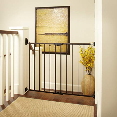 """""""Easy Swing & Lock Gate"""" by North States: Ideal for standard or wider stairways, swings to self-lock. Hardware mount. Fits openings 28.68″ to 47.85″ wide (31″ tall, Bronze)"""