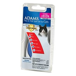 Adams Flea and Tick Spot On for Cats, 5 Pounds and Over, 1 Month Supply, With Applicator
