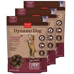 Cloud Star Dynamo Dog Tummy Digestion Support Soft Chew Treats – Pumpkin & Ginger – Grain Free – (3 Pack) 5 oz Each