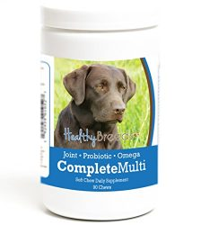 Healthy Breeds Dog All in One Multivitamin Soft Chews for Labrador Retriever, Dark Brown – Over 200 Breeds – Hip & Joint Digestion Skin & Coat Vitamins – 90 Chews