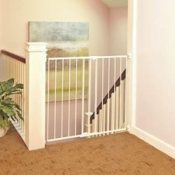"""Tall Easy Swing and Lock Gate"" by North States: Ideal for standard or wider stairways, swings to self-lock. Hardware Mount. Fits openings 28.68″ to 47.85″ wide (36″ tall, Soft white)"