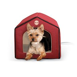 K&H Pet Products Thermo-Indoor Heated Pet House Red/Tan 16″ x 15″ x 14″ 4W