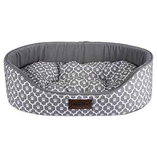 Bone Dry CAMZ37301 DII Lattice Pet Bed, 17x22x7, Modern & Fashionable Oval Bed for Dogs Or Cats-Gray, Small, Oval Lattice Gray Pet Bed