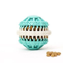 Coevals Club Pet Dog Treat Slow Feed Ball, Interactive IQ Non-Toxic Rubber Dental Treat Tooth Cleaning Toy for Dogs Training Playing Chewing, 2.4″ L, Blue and White