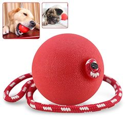 Saygogo- Pet Toy Ball with Rope,Rubber Dog Ball -Pet Toy Ball, Natural Rubber Baseball-Sized Bouncy Dog Ball,Colors Vary, Large Size,Size 2.8Inches ,1Pack