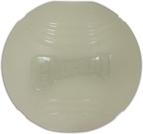 CHUCKIT Max Glow Balls for Pets (2-Pack), Medium, White