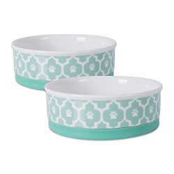 DII Bone Dry Lattice Ceramic Pet Bowl for Food & Water with Non-Skid Silicone Rim for Dogs and Cats (Medium – 6″ Dia x 2″H) Aqua – Set of 2