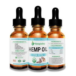Hemp Oil for Dogs and Cats – Organic Natural Calming Drops – Anxiety Relief Medication – Hip and Joint Supplement Pain Relief Glaucoma, Seizure, and Cancer Treatment for Pets – Omega 3 & 6