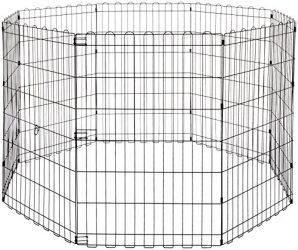 AmazonBasics Foldable Metal Pet Exercise and Playpen, 36″