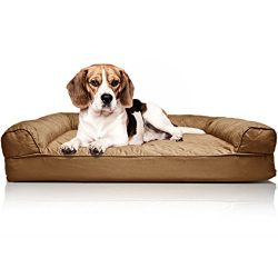 FurHaven Pet Dog Bed | Orthopedic Quilted Sofa-Style Couch Pet Bed for Dogs & Cats, Toasted Brown, Medium