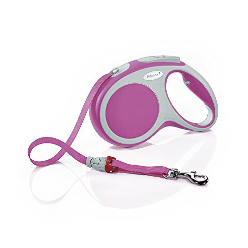 Flexi Vario Retractable Dog Leash (Tape), 16 ft, Medium, Pink