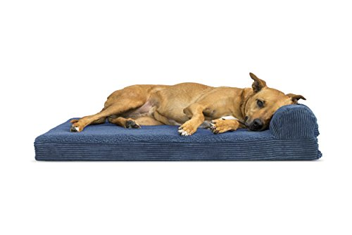 FurHaven Pet Dog Bed | Deluxe Orthopedic Faux Fleece & Corduroy Chaise Couch Pet Bed for Dogs & Cats, Navy Blue, Large