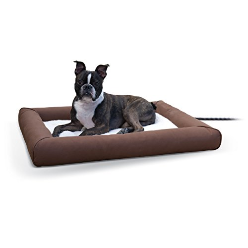 K&H Pet Products Deluxe Lectro-Soft Outdoor Heated Bed Medium Chocolate/Tan 26.5″ x 30.5″ 40W