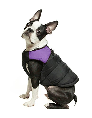 Gooby – Padded Vest, Dog Jacket Coat Sweater with Zipper Closure and Leash Ring, Purple, Small