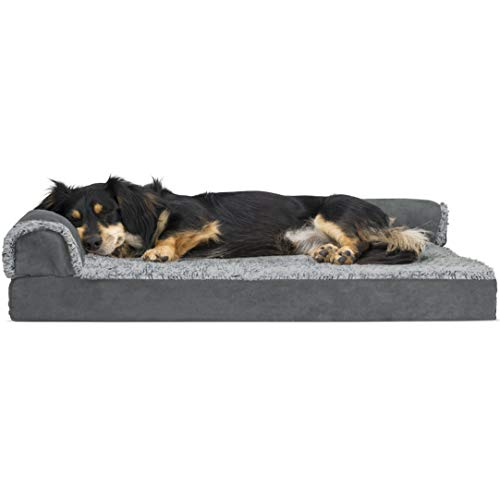 FurHaven Pet Dog Bed | Deluxe Orthopedic Faux Fur & Suede L-Shaped Chaise Couch Pet Bed for Dogs & Cats, Stone Gray, Medium