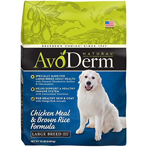 AvoDerm Natural Large Breed Dry Dog Food, Chicken Meal & Brown Rice, 15-Pound