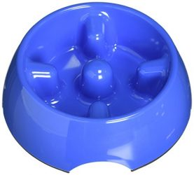 Dogit Go Slow Anti-Gulping Dog Bowl, Blue, Large