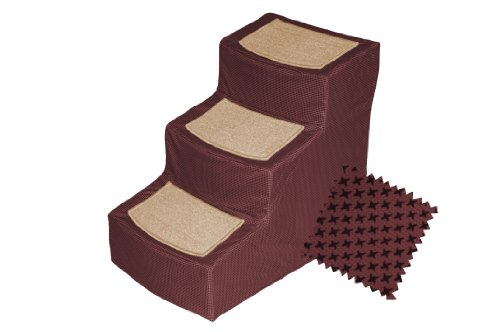 Pet Gear PG9823DBG Designer 3-Step with Removable Cover Stairs, Burgundy