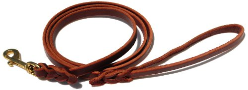 Signature K9 Braided Leather Leash, 4-Feet x 1/2-Inch, Burgundy