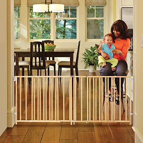 """""""Extra-Wide Swing Gate"""" by North States Fits openings 60″ to 103″ wide (27″ tall, Natural wood)"""