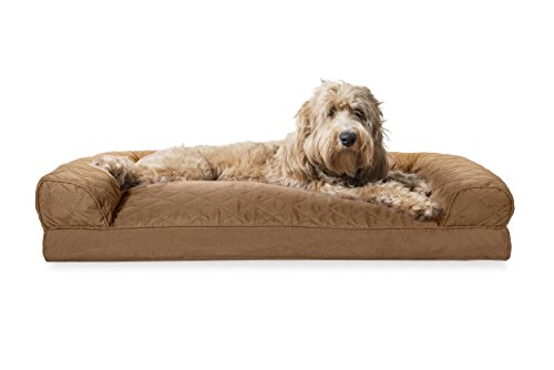 Furhaven Pet Dog Bed | Quilted Pillow Sofa-Style Couch Pet Bed for Dogs & Cats, Warm Brown, Large
