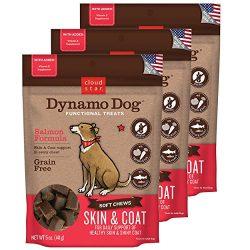 Cloud Star Dynamo Dog Skin & Coat Soft Chew Treats Salmon Formula – Grain Free – (3 Pack) 5 oz Each