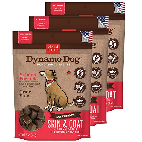 Cloud Star Dynamo Dog Skin & Coat Soft Chew Treats Salmon Formula – Grain Free – (3 Pack) 5 oz Each