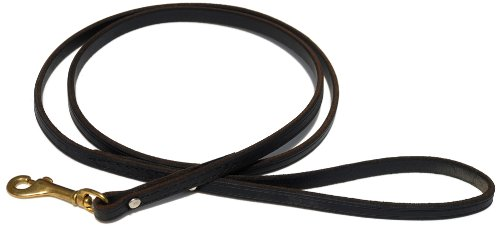Signature K9 Standard Leather Leash, 5-Feet x 1/2-Inch, Black