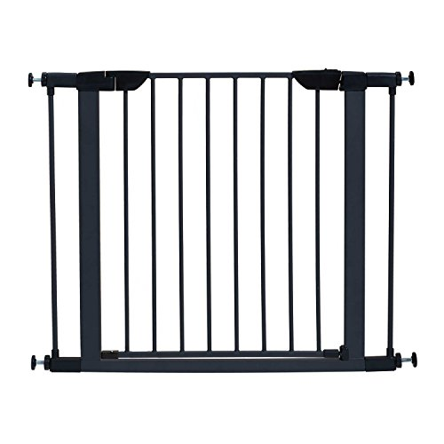 MidWest 29″ High Walk-thru Steel Pet Gate, 29″ – 38″ Wide in Textured Graphite