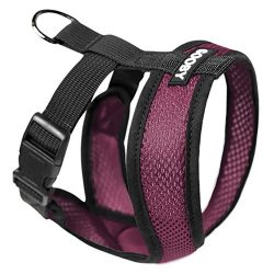 Gooby Choke Free X Frame Soft Harness with Micro Suede Trimming for Small Dogs, Medium, Purple