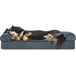 Furhaven Pet Dog Bed | Orthopedic Faux Fleece & Chenille Sofa-Style Couch Pet Bed for Dogs & Cats, Orion Blue, Medium