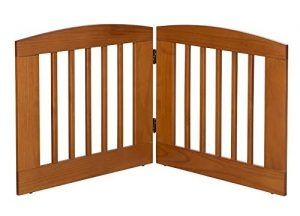 BarkWood Pets Freestanding Pet Gate with Two 24″W x 24″H Folding Wood Panels, Chestnut