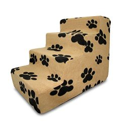 Best Pet Supplies 4-Step Pet Stairs, 24 by 15 by 19-Inch, Black Paw on Beige Suede