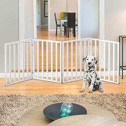 "PETMAKER Wooden Pet Gate- Foldable 4-Panel Indoor Barrier Fence, Freestanding and Lightweight Design for Dogs, Puppies, Pets- 72 x24"" (White Paint)"