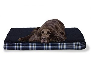 FurHaven Pet Dog Bed | Deluxe Orthopedic Plaid Mattress Pet Bed for Dogs & Cats, Midnight Blue, Large
