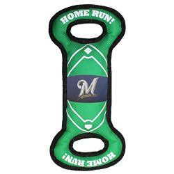 Pets First BRW-3030 MLB Milwaukee Brewers Baseball Field Tough Dog Toy, MLB Team Color