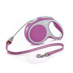Flexi Vario Retractable Dog Leash (Cord), 26 ft, Medium, Pink