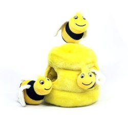 Hide a Bee Fun Hide and Seek Interactive Puzzle Plush Dog Toy by Outward Hound, 4 Piece, Large