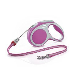 Flexi Vario Retractable Dog Leash (Cord), 16 ft, Medium, Pink