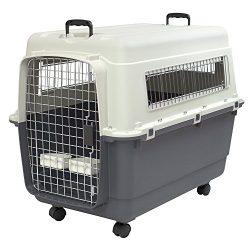SportPet Designs Plastic Kennels Rolling Plastic Wire Door Travel Dog Crate- XLarge