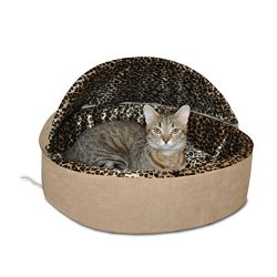 K&H Pet Products Thermo-Kitty Heated Pet Bed Deluxe Small Tan/Leopard 16″ 4W
