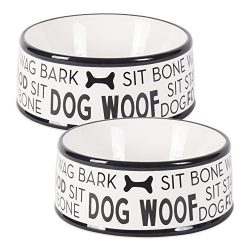 Bone Dry DII Ceramic Medium Pet Bowls for Food & Water, 6.25″ (Dia) x2.5 (H) Set of 2 for Dogs and Cats – Black Dog Text
