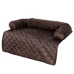 PETMAKER Furniture Protector Pet Cover with Bolster – Brown – 30×30.5