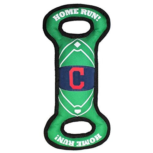 Pets First CLV-3030 MLB Cleveland Indians Baseball Field Tough Dog Toy, MLB Team Color