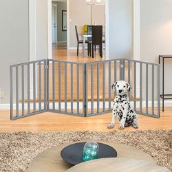 "PETMAKER Wooden Pet Gate- Foldable 4-Panel Indoor Barrier Fence, Freestanding and Lightweight Design for Dogs, Puppies, Pets- 72 x24"" (Gray Paint)"