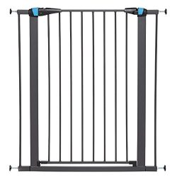 Pet Gate | 39″ High Walk-thru Steel Pet Gate by 29″ to 38″ Wide in Textured Graphite w/ Glow Frame, X-Tall